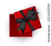 open pink gift box top view...   Shutterstock .eps vector #1221452359