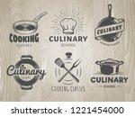 culinary school logos. vector... | Shutterstock .eps vector #1221454000