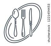 thin line icon restaurant ... | Shutterstock .eps vector #1221454453