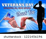 saluting soldier with a... | Shutterstock .eps vector #1221456196