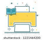 printer line filled icon... | Shutterstock .eps vector #1221464200
