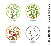 four season concept with apple... | Shutterstock .eps vector #1221469126