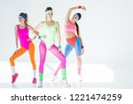 beautiful athletic girls in 80s ... | Shutterstock . vector #1221474259