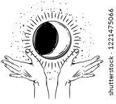 open hands with vintage moon.... | Shutterstock .eps vector #1221475066