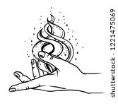 open hand with magic fire....   Shutterstock .eps vector #1221475069