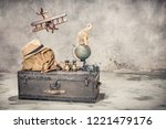 vintage old classic travel... | Shutterstock . vector #1221479176