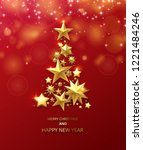 red merry christmas and happy... | Shutterstock .eps vector #1221484246
