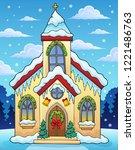 christmas church building theme ... | Shutterstock .eps vector #1221486763