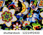mexican seamless pattern.... | Shutterstock .eps vector #1221492433