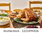 thanksgiving turkey on dinner... | Shutterstock . vector #1221494326