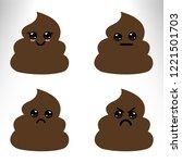 set of cute poop emoticon... | Shutterstock .eps vector #1221501703