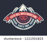vintage camp logo. vector... | Shutterstock .eps vector #1221501823