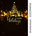 holiday background with golden...   Shutterstock .eps vector #1221504016