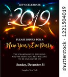new years 2019 invitation with...   Shutterstock .eps vector #1221504019