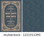 vintage wedding invitation... | Shutterstock .eps vector #1221511390