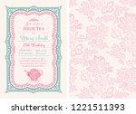 vintage tea invitation layout   Shutterstock .eps vector #1221511393