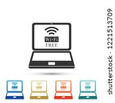 laptop and free wi fi wireless... | Shutterstock .eps vector #1221513709