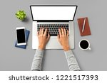 overhead shot of woman working... | Shutterstock . vector #1221517393