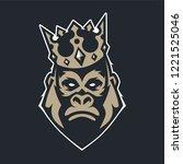 gorilla in crown mascot vector... | Shutterstock .eps vector #1221525046