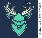 deer mascot vector art. frontal ... | Shutterstock .eps vector #1221525049