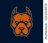 pitbull mascot vector art.... | Shutterstock .eps vector #1221525073