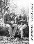 happy family portrait walking... | Shutterstock . vector #1221526519