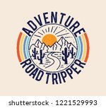 Stock vector vintage adventure road tripper mountain and cactus illustration outdoor adventure vector graphic 1221529993