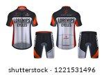 cycling jerseys mockup t shirt... | Shutterstock .eps vector #1221531496