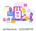 shopping online in the internet ... | Shutterstock .eps vector #1221538759