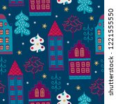 christmas seamless pattern with ... | Shutterstock .eps vector #1221555550