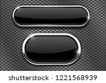 black glass buttons with chrome ... | Shutterstock .eps vector #1221568939