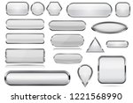 white glass 3d buttons with... | Shutterstock .eps vector #1221568990