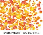 yellow maple leaves background... | Shutterstock .eps vector #1221571213