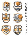 basketball game icons with ball ... | Shutterstock .eps vector #1221574036