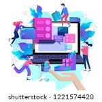 landing page template of online ... | Shutterstock .eps vector #1221574420