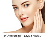 beauty face woman with helthy... | Shutterstock . vector #1221575080