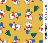 snowman and christmas tree... | Shutterstock .eps vector #1221579883