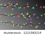 christmas color lights string... | Shutterstock .eps vector #1221583219