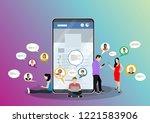 social network web site surfing ... | Shutterstock .eps vector #1221583906
