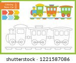 coloring book with a cute... | Shutterstock .eps vector #1221587086