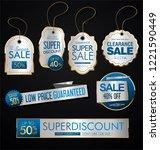 vintage style sale tags design... | Shutterstock .eps vector #1221590449