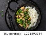 teriyaki chicken and broccoli... | Shutterstock . vector #1221593359