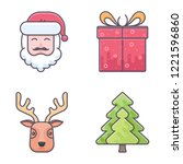 merry christmas icons. vector... | Shutterstock .eps vector #1221596860