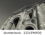 black and white triumphal arch... | Shutterstock . vector #1221596920