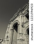 black and white triumphal arch... | Shutterstock . vector #1221596923