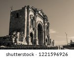 black and white triumphal arch... | Shutterstock . vector #1221596926