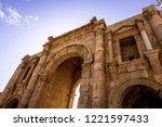 triumphal arch of hadrian in... | Shutterstock . vector #1221597433