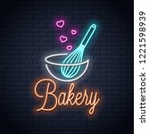 baking with wire whisk neon... | Shutterstock .eps vector #1221598939