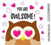cute cartoon owl in love....   Shutterstock .eps vector #1221598999