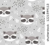 raccoon cute seamless pattern ... | Shutterstock .eps vector #1221599113